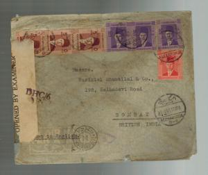 1944 Alexandria Egypt Dual Censored  Cover to Bombay India