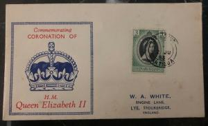 1953 St Johns Antigua QE 2 Coronation First Day Cover Queen Elizabeth FDC To Uk