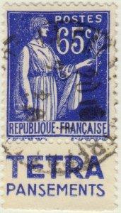 FRANCE - 1937 Pub TETRA PANSEMENTS sur Yv.365b 65c Paix obl.