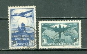 FRANCE 1936 SCARCE AIR #C16-17(YT 320-21) SET...USED ...$135.00