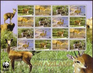 Swaziland WWF Klipspringer and Oribi Sheetlet of 4 sets SG#704-707 MI#702-705