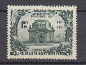 J29520,  1952  austria set of 1 mh #580 pavillion
