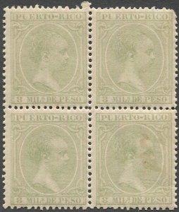 PUERTO RICO 1894 Sc 94 8m Alphonso XIII MNH Block of Four, VF