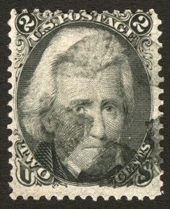 #73 1863 2c Black Andrew Jackson 3 Large Margins, Segmented Cork Cancel Used
