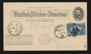 Columbian Exposition Souvenir Postcard Administration Building on UX10 w/ 230 VF