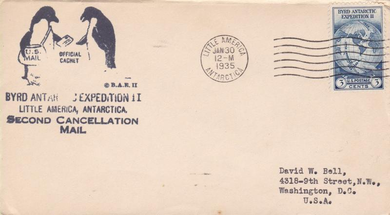 Little America Antarctica Byrd Expedition Second Cancellation Cover Penguins
