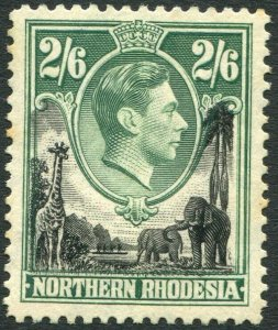 NORTHERN RHODESIA-1938-52 2/6 Black & Green Sg 41 LIGHTLY MOUNTED MINT V35931