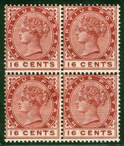 MAURITIUS QV Stamps SG.109 16c (1885) BLOCK OF FOUR Mint UMM* Cat £52+  LBLUE115