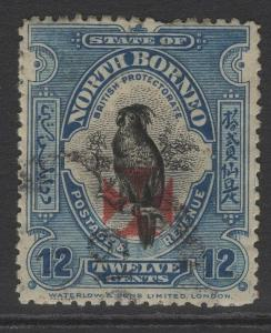 NORTH BORNEO SG209 1916 12c DEEP BLUE USED