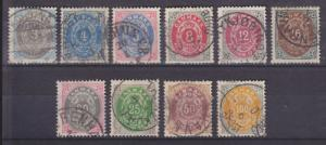 Denmark Sc 25-34 used 1875-79 Numerals cplt F-VF