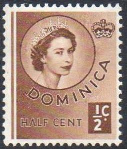 Dominica 1954 ½c brown MH