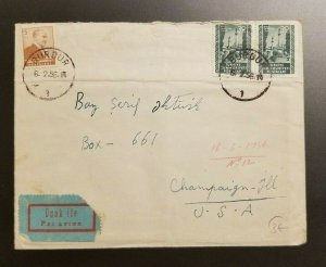 1956 Burdur Turkey to Champaign Illinois Airmail Cover