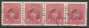 #267 Canada Used Coil strip of 4 George VI