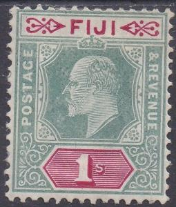 FIJI 1904 KEVII 1/- WMK MULTI CROWN CA