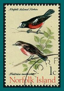 Norfolk Island 1970 Birds 2, Scarlet Robins, used #126,SG103