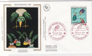 France 1992 Red Cross Slogan Cancels Caring Europe Pic+ Stamp FDC Cover Rf 31653