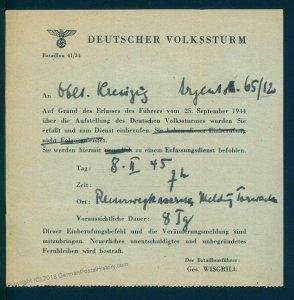 3rd Reich Austria 1945 Gau 41 Vienna Germany Volksturm Einrufungsbefehl Do 93539
