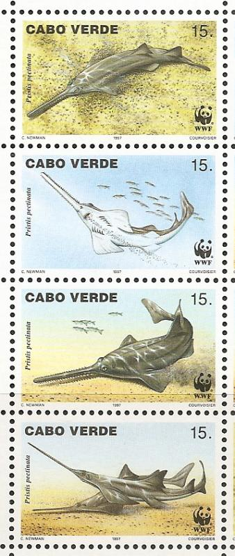 Cape Verde 716 1997 WWF Fish strip MNH