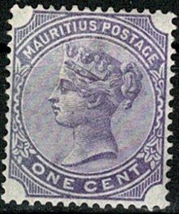 MAURITIUS QV 1883-94 1c PALE VIOLET UNUSED (MH) SG101 Wmk.CROWN CA VGC