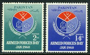 Pakistan 106-107, MNH. Armed Forces Day. Emblem, 1960