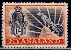 Nyasaland 1934, George V and Leopard, 1sh, Scott# 46, used