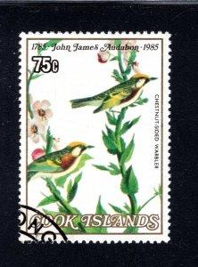 Cook Islands, Scott 852, VF,Used, Chesnut Sided Warbler, CV $2.50   .... 1500181