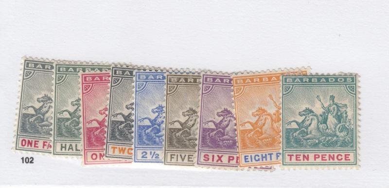 BARBADOS # 70-78 MH TO 10p CAT VALUE $84+