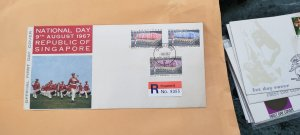 1967 SINGAPORE U/A  REGISTERED FDC ON NATIONAL DAY 9TH AUGUST 1967