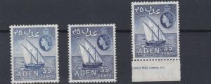 ADEN    1953 - 63    S G  56 + 57 + 57A      3 X 35C VALUES     MH & MNH