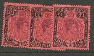 Leeward Islands KGVI 1 GBP X3 Shades SG 114b MOG (3cqw)