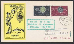 LUXEMBOURG 1961 Lufthansa first flight cover to Tokyo Japan via Rome........F968