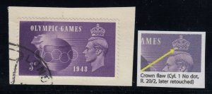 Great Britain, SG 496a, used on piece Crown Flaw variety