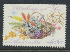 Australia SG 1318  Used - Greetings - Flowers top imperf