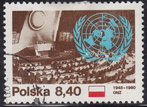 Poland 2417 USED 1980 United Nations 35th Anniv 8.40zł