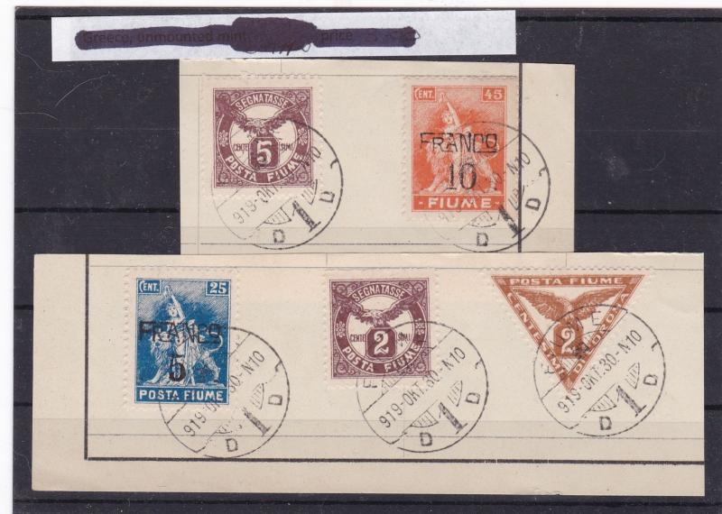 fiume 1919 surcharge postage due stamps cat £25+ref 10218