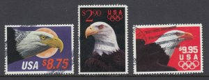 US Sc 2394, 2540, 2541 used. 1988-1991 Priority & Express Mail Eagles, F-VF