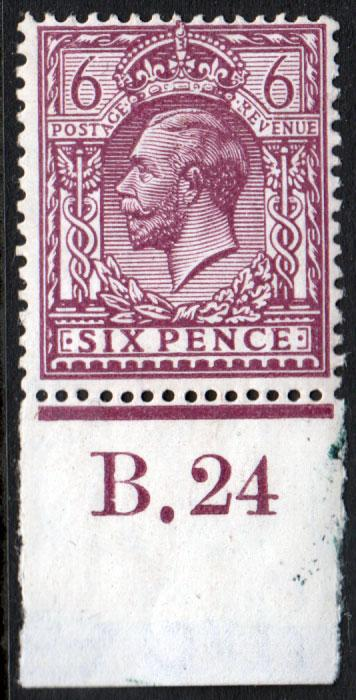 GB KGV 1924 6d Reddish Purple Chalky SG426 Control B24 Mint Hinged