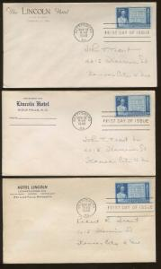 Lot of 9 The Lincoln Hotel 1948 Gettysburg First Day of Issue Covers