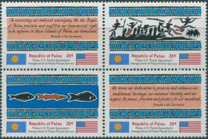 Palau 1983 SG1-4 Postal Independence block set MNH