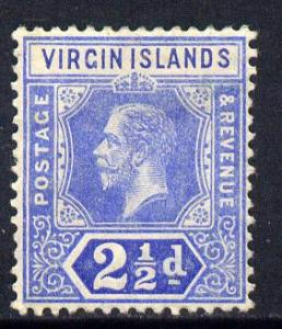 British Virgin Islands 1913-19 KG5 MCA 2.5d blue mounted ...
