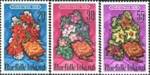Norfolk Island 1978 SG215-217 Christmas flowers and bible set MNH
