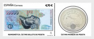 Stamps Spain 2021- Numismatics - The Last Pesta Banknote and Coin - Mint - Set.