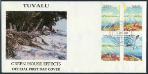 Tuvalu 649-652,FDC.Michel 670-673. Greenhouse Effect,1993.Beach scene.Bird,Sun,