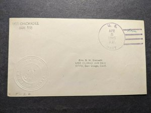 USS CHICKADEE AM-59 Naval Cover 1946 Embossed Cachet to USS CLIMAX AM-161