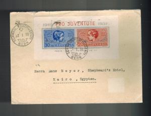 1938 Bern Switzerland cover to Cairo Egypt # B89 Pro Juventute Souvenir Sheet