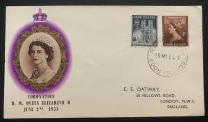 1953 Rarotonga Cook Island First Day Cover QE2 Queen Elizabeth coronation To UK
