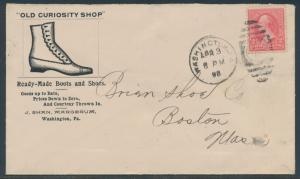 1898 2¢ BUREAU ON ILLUSTRATED ADVT OLD CURIOSITY SHOP COVER BR4268 HSAM
