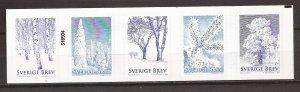 2015 Sweden -Sc 2763 - MNH VF - Strip of 5 -  Winter Trees - cyl 518934