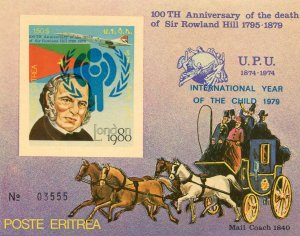 Eritrea 1980 Sir Rowland Hill ICY blue Ovpt. s/s Numbered Imperforated mnh.vf