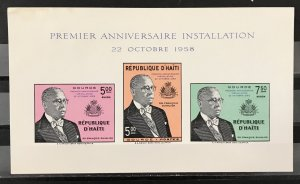 Haiti 1958 #431,C124-5 Imperforate S/S, MNH(see note), CV $6.25